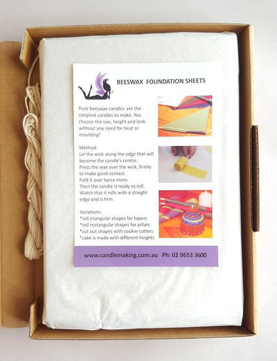 Beeswax Candle Making Kit - 12 purple/calico sheets