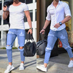 2018 New Fashion Men's Stretchy Ripped Skinny Jeans Destroyed Taped Slim Fit Denim Pants Top Quality - BernardoModa