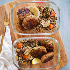 Turkey Patties with Quinoa and Roast Veggies
