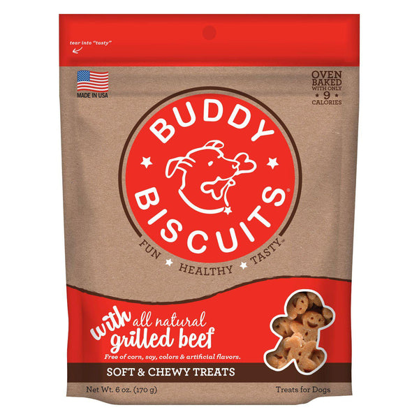 Buddy Biscuits Original Soft and Chewy Dog Treats Grilled Beef 6 ounces-Dog-Buddy Biscuits-PetPhenom