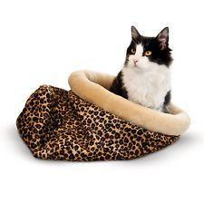 "K&H Pet Products Self Warming Kitty Sack Leopard 17"" x 17.5"" x 4.5""-Cat-K&H Pet Products-PetPhenom"