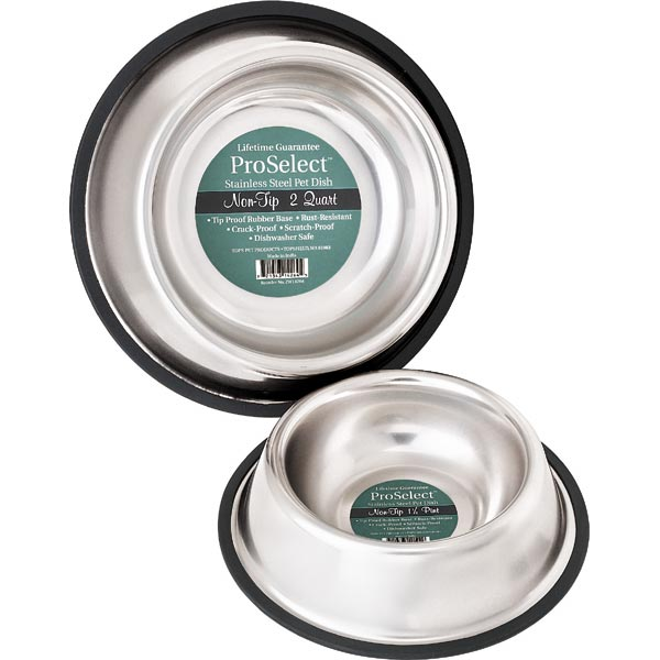 "PetEdge No-Tip Non-Skid Stainless Steel Bowl 16 oz 5"" x 5"" x 2""-Dog-PetEdge-PetPhenom"