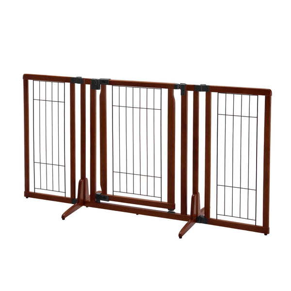 "Richell Premium Plus Freestanding Pet Gate Cherry Brown 34""-63"" x 20.5""-26"" x 32""-Dog-Richell-PetPhenom"