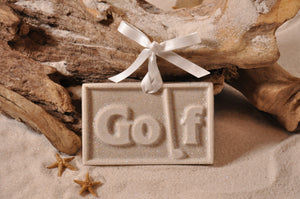 GOLF SIGN ORNAMENT, GOLFER, SAND ORNAMENT, TROPICAL SEASIDE ORNAMENT, COASTAL BEACH GIFT, MADE IN FLORIDA, BEACH LOVER GIFTS, BEACH SAND KEEPSAKES, VACATION SOUVENIR, GIFT SHOP OWNERS, PROMOTIONAL ITEMS, PARTY FAVOR, SPECIAL EVENT, COLLECTIBLES, HAND-CRAFTED, FUNDRAISER