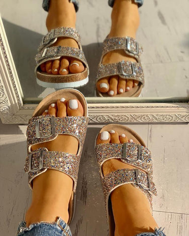 Casual Stroll Sequin Double Buckle Flats - RishWish