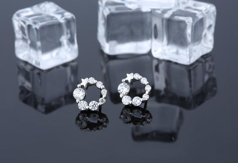 100% Real Sterling Silver Earrings Studded with  Zirconia - Extremely Low Price ..Limited Offer - RishWish