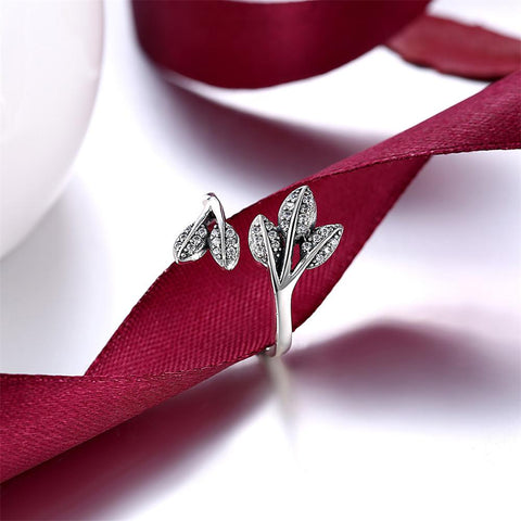 100% Genuine 925 Sterling Silver Women leaf Ring With Full Crystal -Huge Sale - RishWish