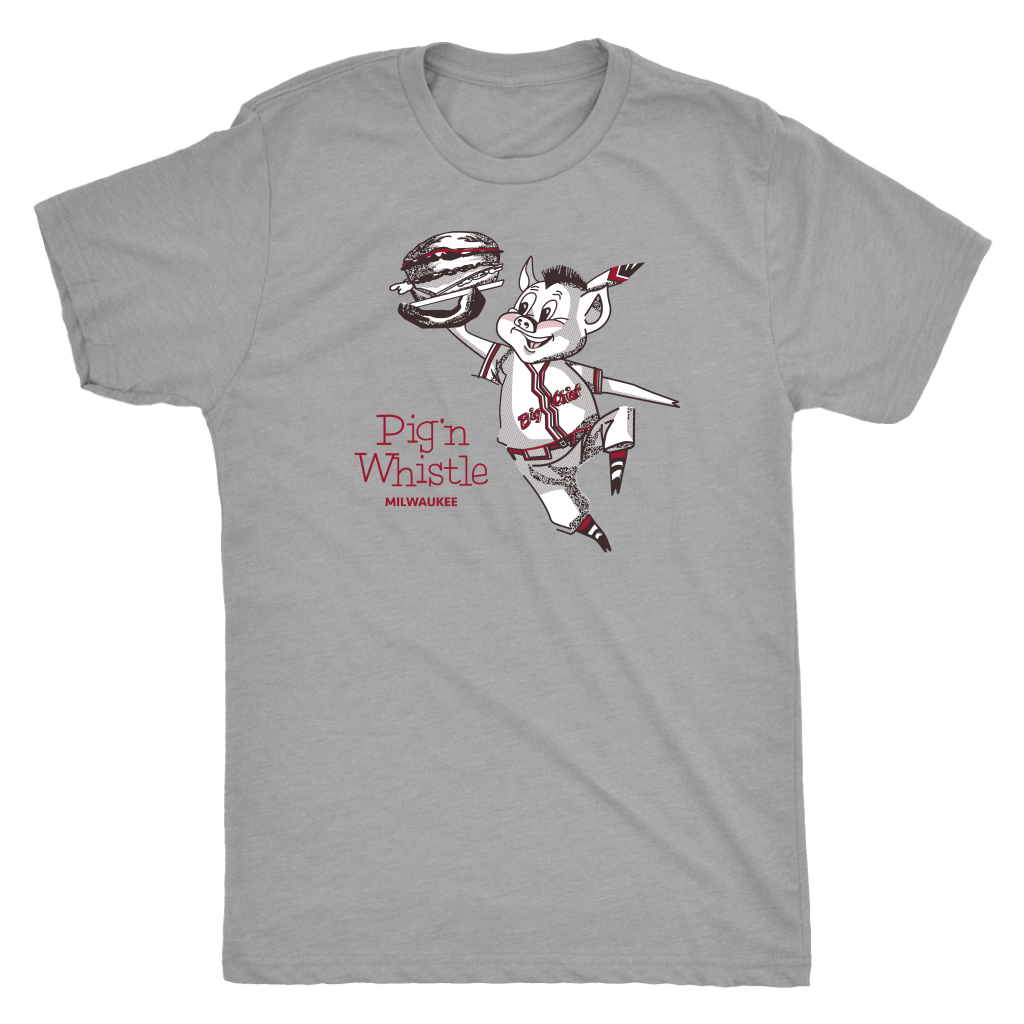 Pig 'N Whistle Big Chief Milwaukee vintage t-shirt men's in color vintage grey displays the famous pig in a Milwaukee Braves outfit as it appeared on the original restaurant placements.