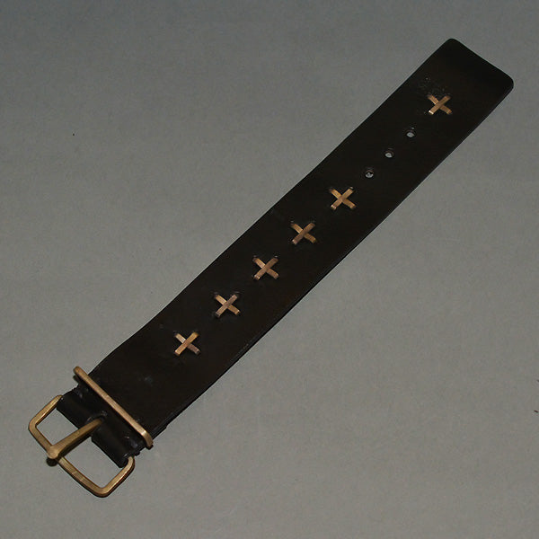 m.a+ by Maurizio Amadei CROSS STUDS WIDE LEATHER WRIST BAND BLACK - DOSHABURI Shop