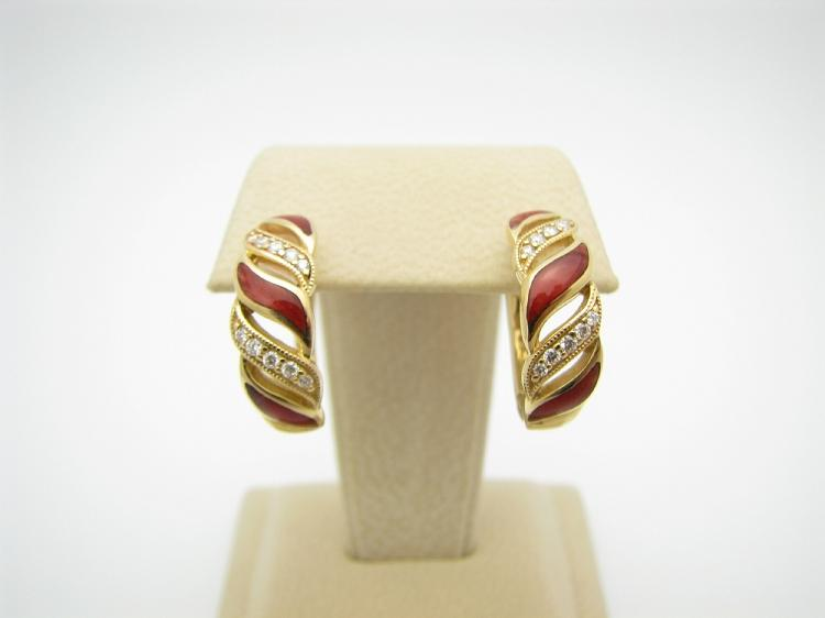 Kabana 14k Gold Earrings with Inlay Red Spiny Oyster and 20 Diamonds-Lema's Kokopelli Gallery