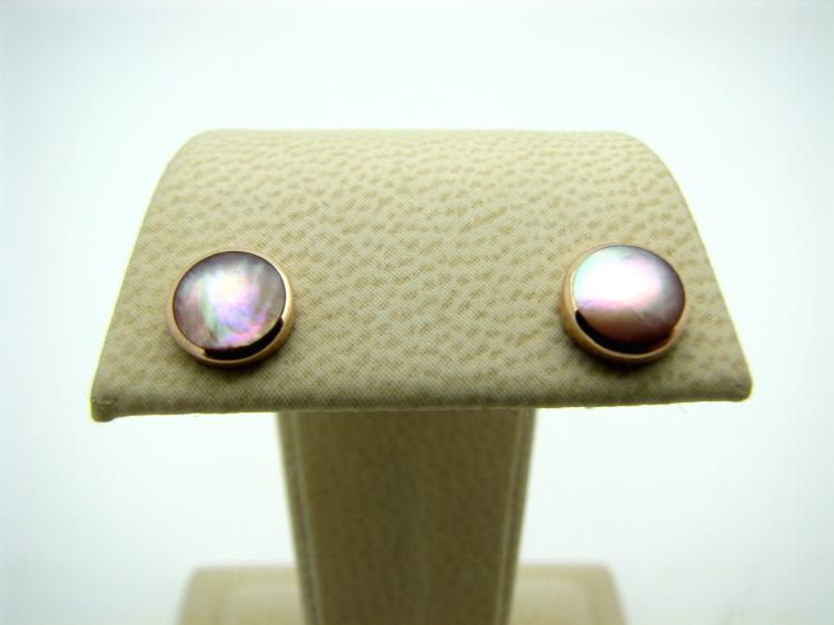 Kabana 14k Rose Gold Round Stud Earrings with Inlay Pink Mother of Pearl-Lema's Kokopelli Gallery