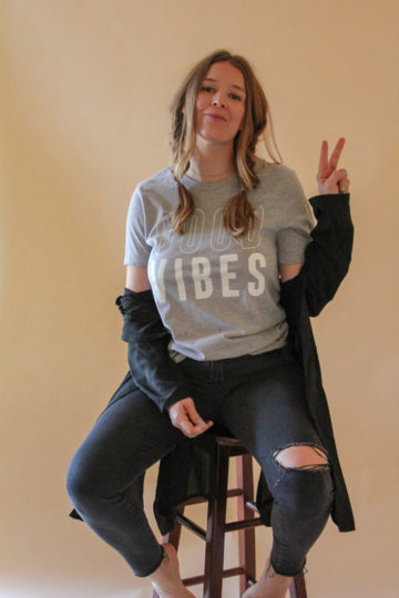 Good Vibes Grey Graphic T-shirt - Emma and Evey