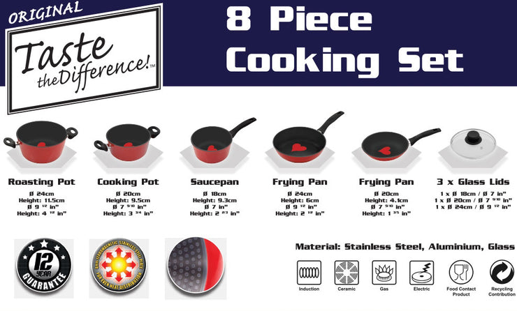Taste the Difference 8 Piece Cookware Set- Non Stick - TVShop