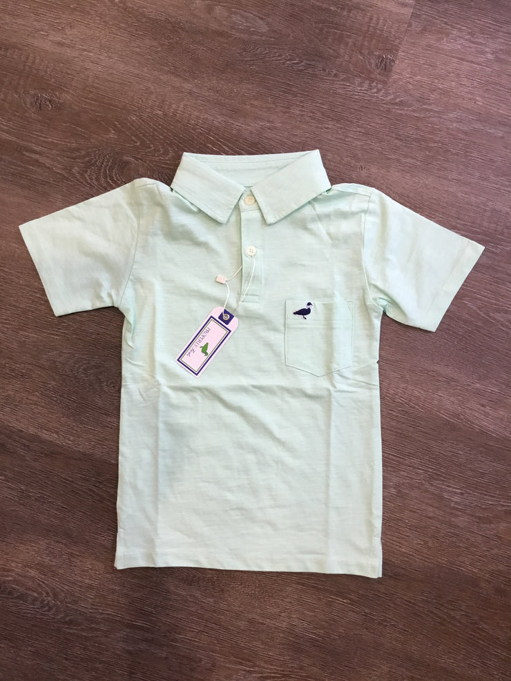 Lil' Ducklings Pocket Polo - Seafoam