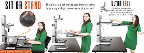 Stand Steady ErgoTech One Touch Electric Standing Desk Converter | Monitor Arm / Mount | Favorite Stand Up Desk of Stock Traders, Graphic Designers, & More!(6 Monitor, 3 over 3)