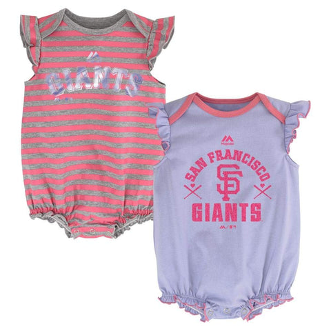 "San Francisco Giants Girls 2pc Creeper Bodysuit ""Pink Team Sparkle"" Set Infant Baby Pink Purple"