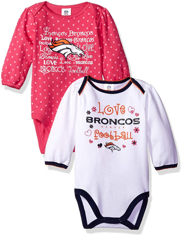 Denver Broncos Childrenswear Long Sleeve Bodysuit for Toddlers, Kids 2pack - White/Pink