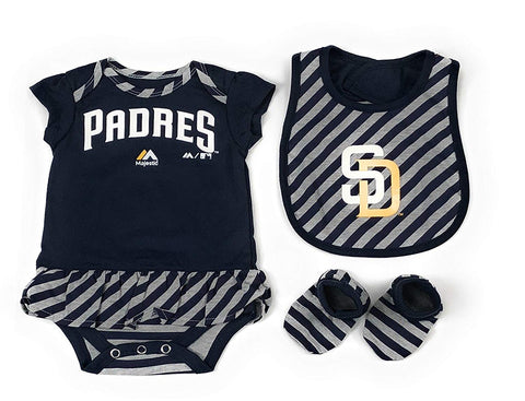 Outerstuff San Diego Padres 3 Piece Creeper, Bib and Booties Apparel Set