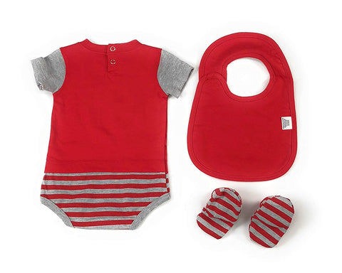 Outerstuff Cincinnati Reds Baby Clothing, 3 Piece Creeper Bib Booties Apparel Set