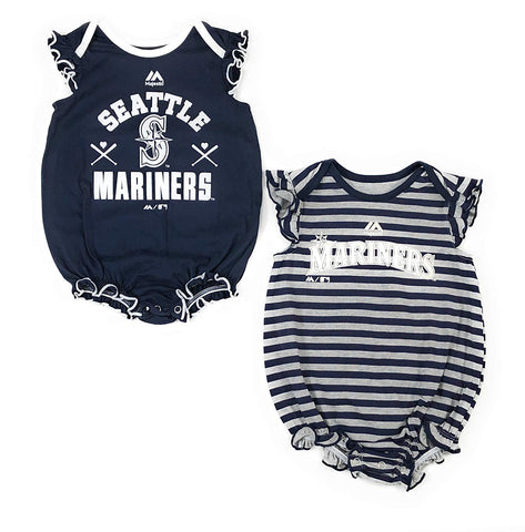Outerstuff Seattle Mariners Baseball Girls Baby Sparkle Clothing Apparel 2 Piece Creeper Set