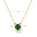 Natural Round Emerald Kitty Pendant Gemstone Necklace in 14K Gold - Ables Mall
