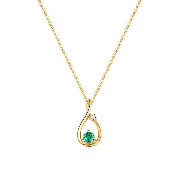 Natural Emerald Love Knot Cubic Zirconia Accent Dainty Necklace Charm in 14K Gold (No Chain) Factory Wholesale R2N3G11042