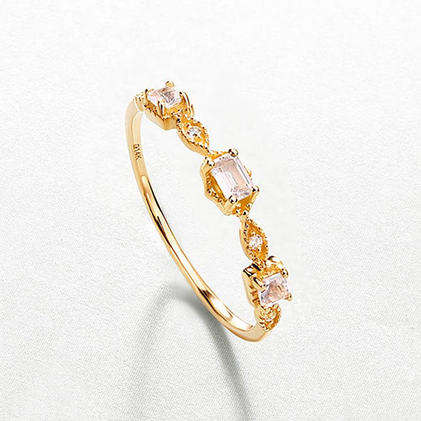 Natural Crystal Cubic Zirconia Accent Stack Dainty Ring in 14K Gold Factory Wholesale R2R1G11036