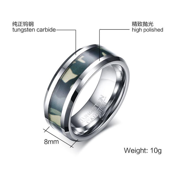 Military Camo Tungsten Ring Tough Men Beveled Non Tarnish Wholesale 8mm - Ables Mall
