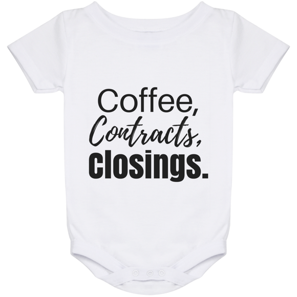 Coffee Contracts Closings Baby Onesie 24 Month