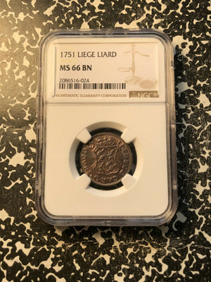 1751 Liege (Belgium) 1 Liard NGC MS66 Brown Lot#G249 Exceptional Example!