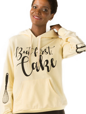 But First Cake Yellow Hoodie