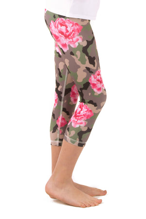 Camo and Peonies Leggings - Youth