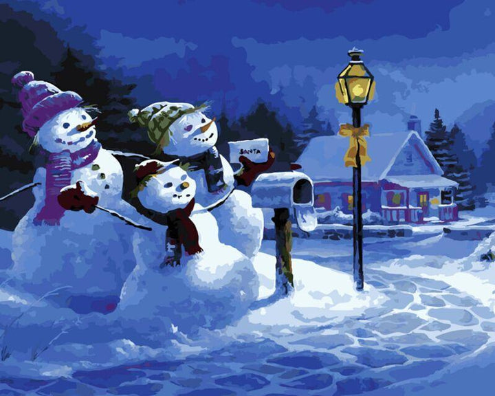 CNS Deals DIY Painting Winter Snowmen DIY Painting By Numbers Kits Home Decor Wall Art