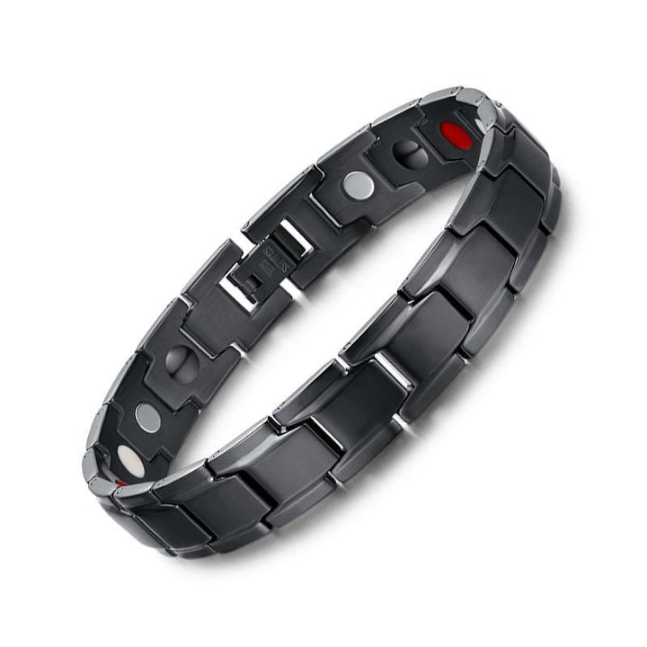 CNS Deals Men Bracelet Health Magnetic Bracelet Men  Black Stainless Steel Chain