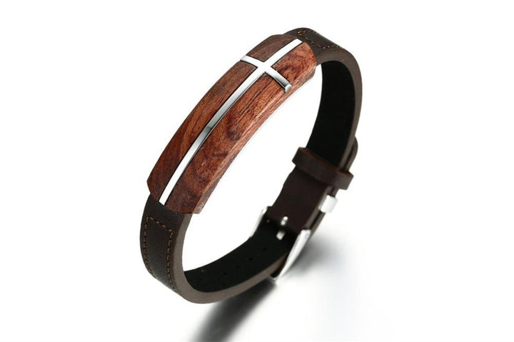 CNS Deals Men Bracelet Retro Rosewood Genuine Leather Bracelet Business Style