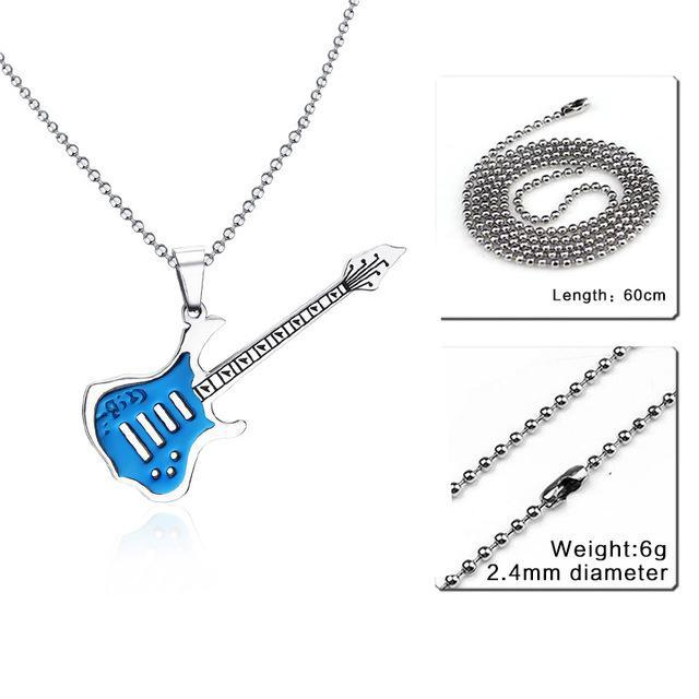 CNS Deals Men Necklace 24inch 002S 2 Trendy Guitar Pendant Stainless Steel Necklace