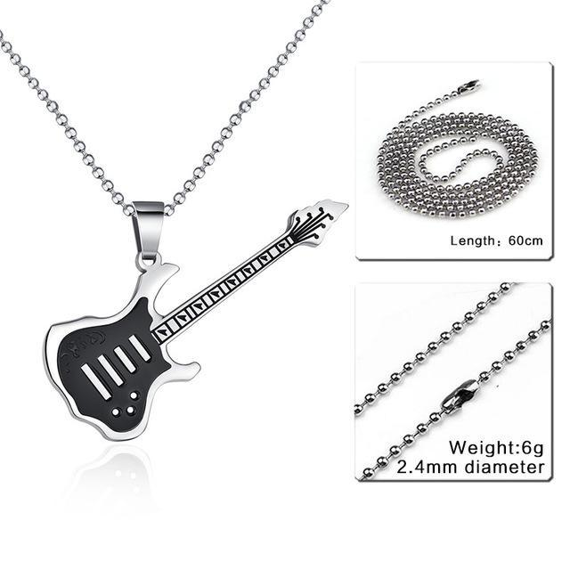 CNS Deals Men Necklace 24inch 002S Trendy Guitar Pendant Stainless Steel Necklace