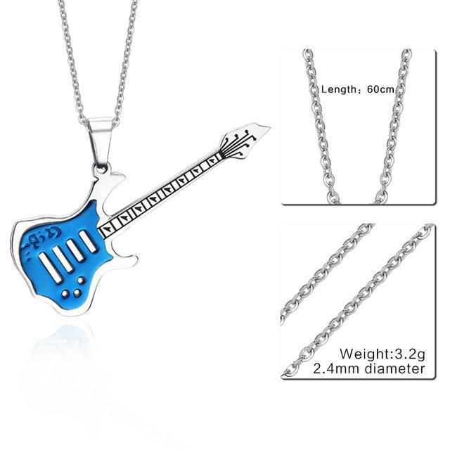 CNS Deals Men Necklace 24inch 074S 2 Trendy Guitar Pendant Stainless Steel Necklace