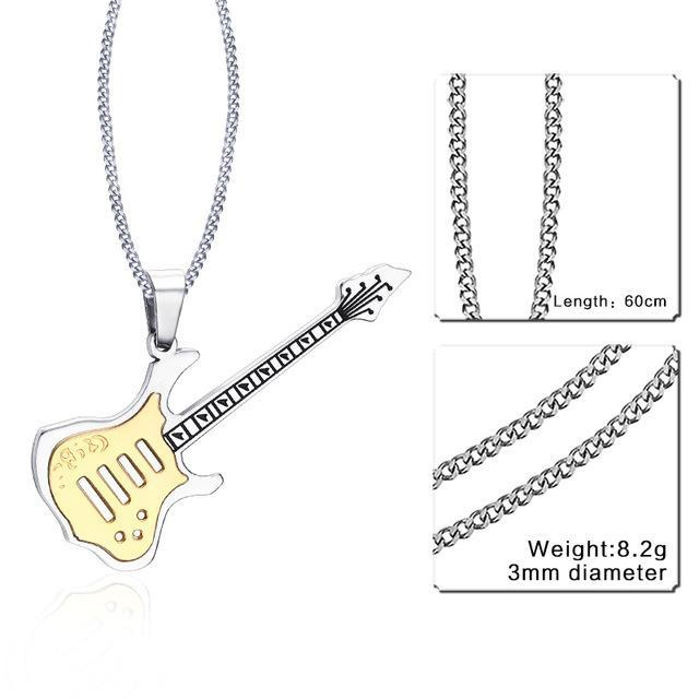 CNS Deals Men Necklace 24inch 189S 1 Trendy Guitar Pendant Stainless Steel Necklace