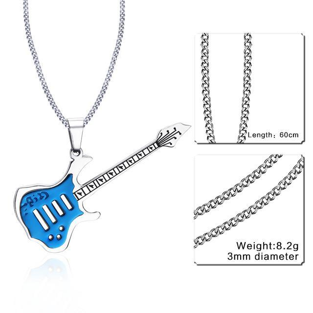 CNS Deals Men Necklace 24inch 189S 2 Trendy Guitar Pendant Stainless Steel Necklace