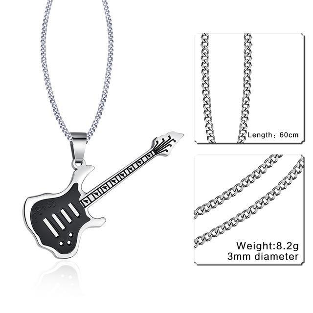CNS Deals Men Necklace 24inch 189S Trendy Guitar Pendant Stainless Steel Necklace