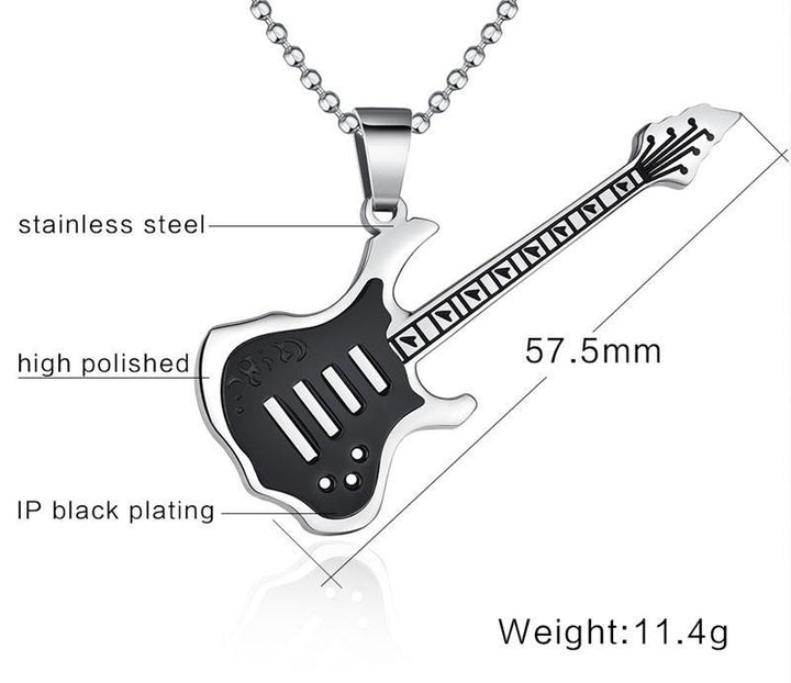 CNS Deals Men Necklace Trendy Guitar Pendant Stainless Steel Necklace