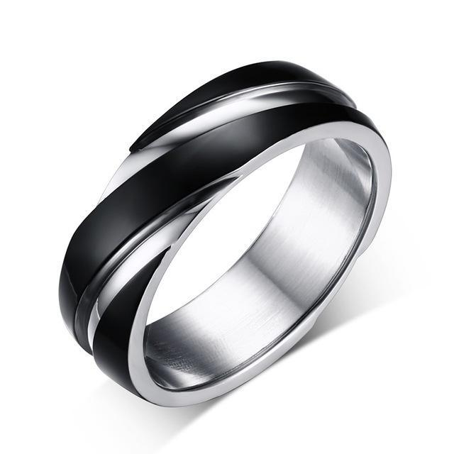 CNS Deals Men Ring 5 / black color Stainless Steel Unique Contoured Ring Band for Women Men