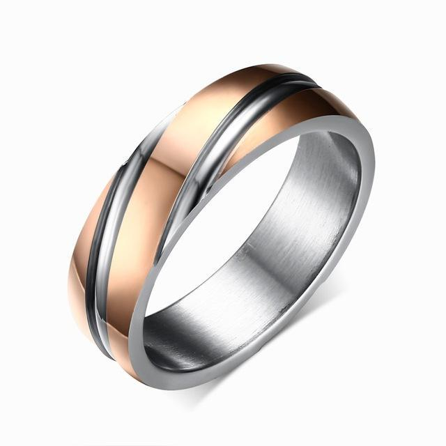 CNS Deals Men Ring 5 / rose gold color Stainless Steel Unique Contoured Ring Band for Women Men