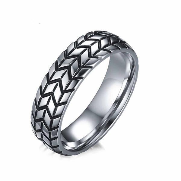 CNS Deals Men Ring 7 / Silver color Vintage Tire Tread Style Grooved Ring Men Rock Punk