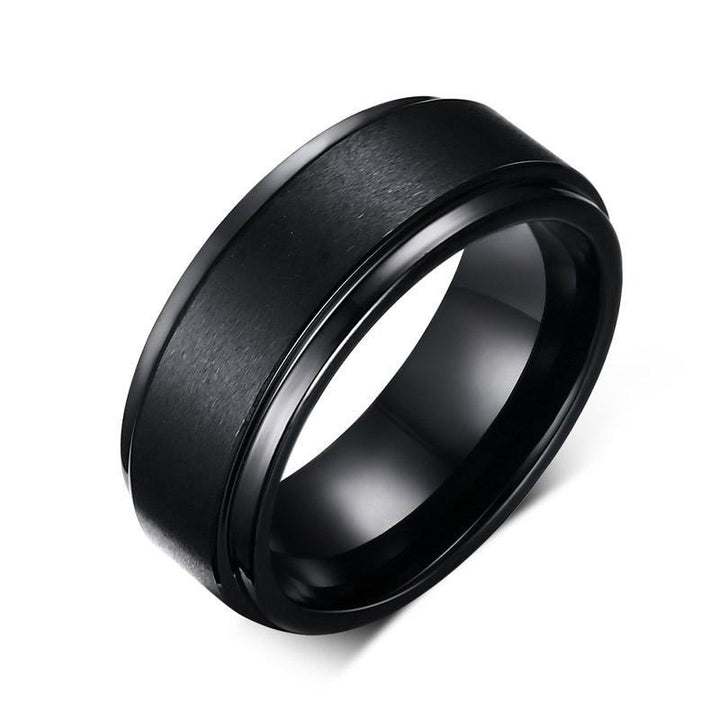 CNS Deals Men Ring 8mm Black Tungsten Engagement Ring Band for Men