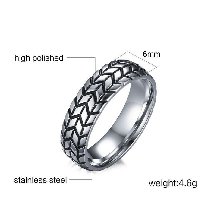 CNS Deals Men Ring Vintage Tire Tread Style Grooved Ring Men Rock Punk