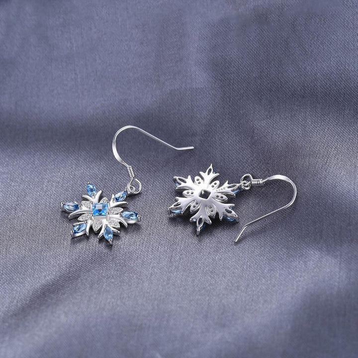 CNS Deals - The Deals Are Here Women Earrings Snowflake 1.4ct Swiss Blue Topaz Dangle Earrings 925 Sterling Silver