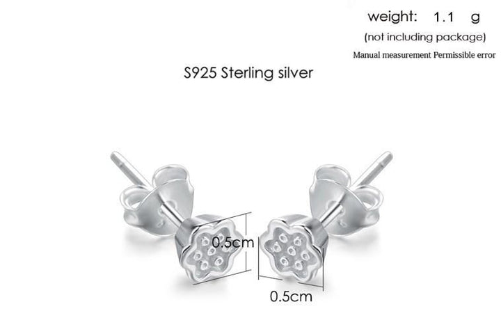 CNS Deals Women Earrings Chinese Lotus Shaped 100% 925 Sterling Silver Stud Earrings