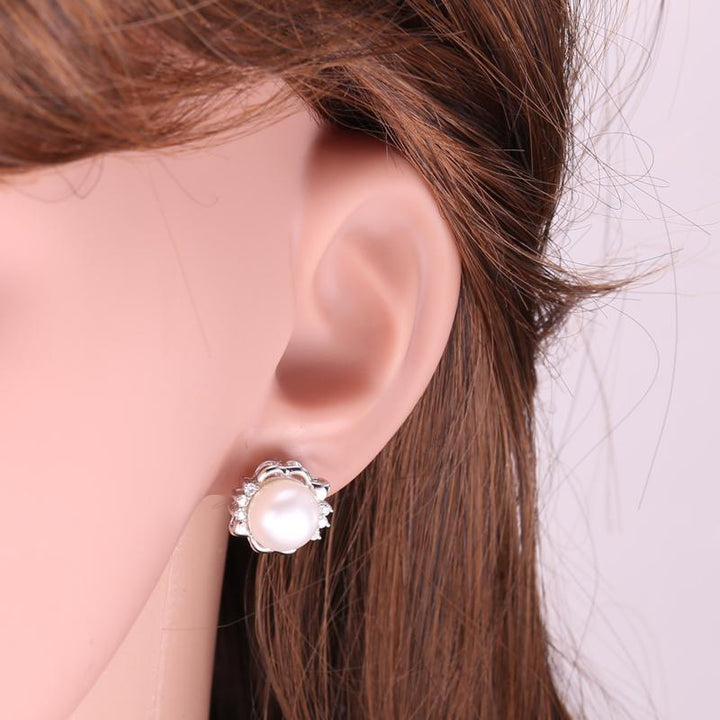 CNS Deals Women Earrings Flower Natural Freshwater Pearl 925 Sterling Silver Stud Earrings